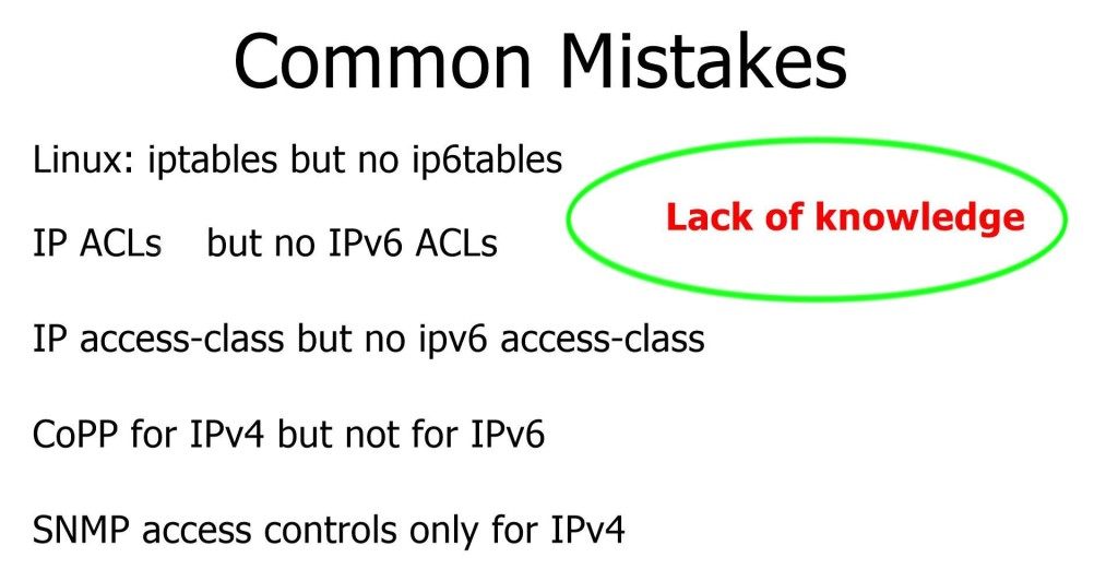IPv6 Common Mistakes